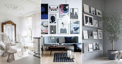 vägg med tavlor