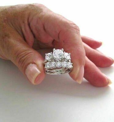 Three Stone Engagement Ring Set 3 Ct Diamond Bridal Ring Set 14k White Gold Diamond Bridal Ring Sets Engagement Wedding Ring Sets Three Stone Engagement Rings