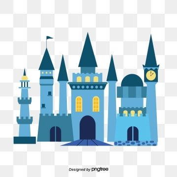 Blue Cartoon Castle Castle Clipart Cartoon Wall Png And Vector With Transparent Background For Free Download Castle Illustration Vector Art Castle Vector