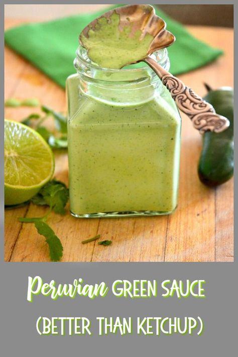 Peruvian Green Sauce Recipe Peruvian Recipes Hot Sauce