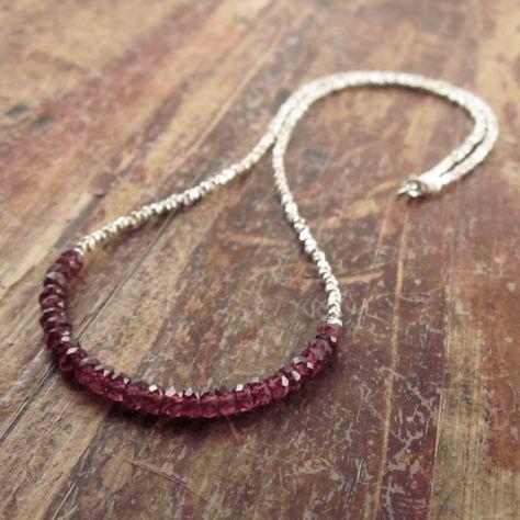 Garnet collier janvier Pierre de naissance bijoux Hill Tribe Silver perles colliers femmes cadeau gemme collier femme copine Teen Girl-grenat, composants en argent sterling, 99.59 €