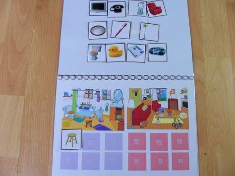 4 habitaciones de la casa para completar con los objetos correspondientes