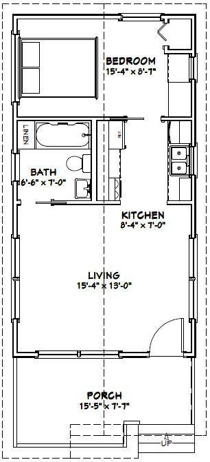 16x30 1 Bedroom House -- #16X30H1 -- 480 sq ft - Excellent Floor - one bedroom house plans