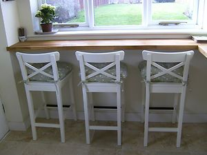 Ikea White Bar Stools With Backrest  INGOLF X 3 NEW | Breakfast Bars, Bar  And Kitchens