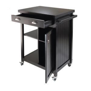Winsome Wood Timber Black Kitchen Cart With Storage 20727 Timber