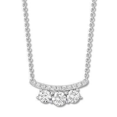 This Romantic 3 Stone Diamond Necklace Is One You Ll Adore Forever Round Diamond Pendant Diamond Necklace Diamond