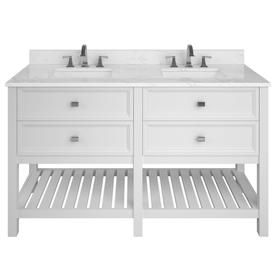 Shop Scott Living Canterbury White Double Sink Vanity With Carrara