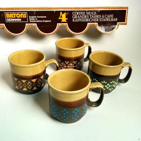 1970s Biltons Coffee Cups Tea Cups Set Of 4 In Original Box Vintage Retro Staffordshire England Tea Cups Coffee Cups Tea Cup Set