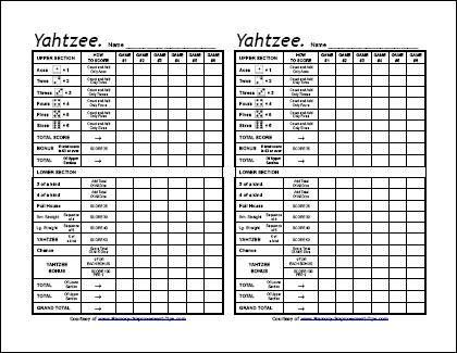 Printable Yahtzee Score Sheets  Diy    Scores Yard