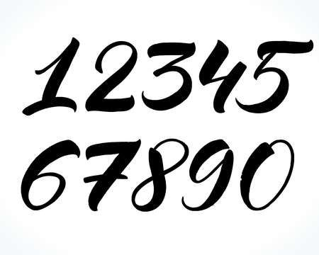 Lettering Numbers Illustration In 2020 Lettering Brush Lettering Calligraphy Handwriting
