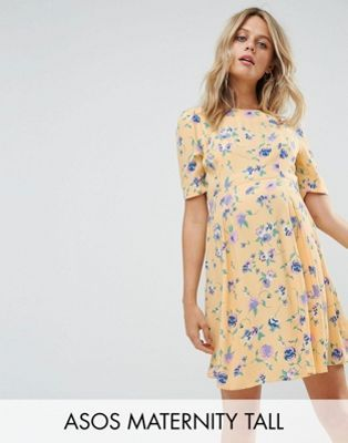 681e08d63676d ASOS Maternity TALL Cut out Shoulder 40's Printed Tea Dress in Yellow  Floral Print