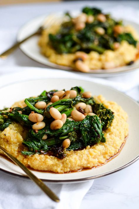 Polenta with Broccoli Rabe and White Beans #whitebean #polenta #broccolirabe #sundriedtomato #lemon #dinner #dinnerrecipe #italainrecipe | Earthly Provisions