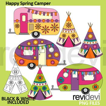Happy Spring Camper Clip Art Fun Clipart For Making Spring Activities And Centers Arts And Crafts Interiors Arts And Crafts For Teens Arts And Crafts For Kids