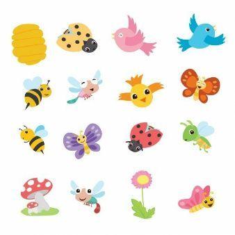 Bonita Coleccion De Animales De Dibujo De Primavera Aves Volando Pajaros Volando Animales