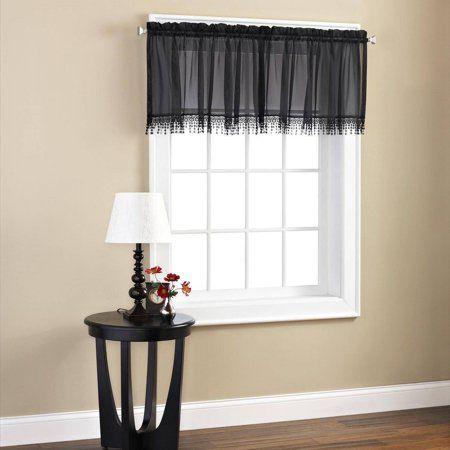 Mainstays Macrame Tailored Valance Walmart Com Valance Tailored Curtain Valance Curtains