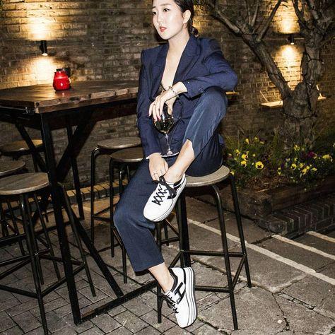Shini Park wearing her #HOGAN H283 Maxi Platform #sneakers in ...