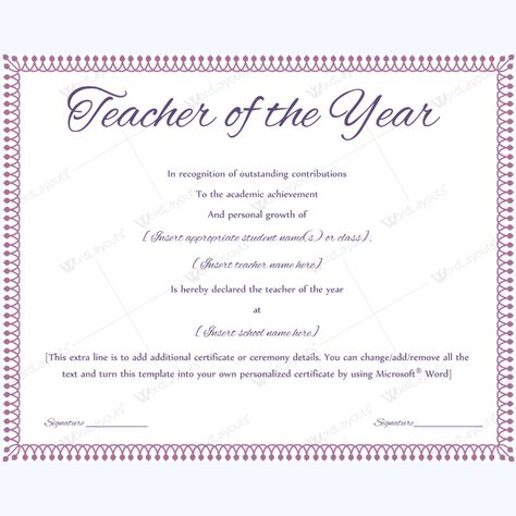 Certificate For Teacher Of The Year #teacheraward - award certificate template for word