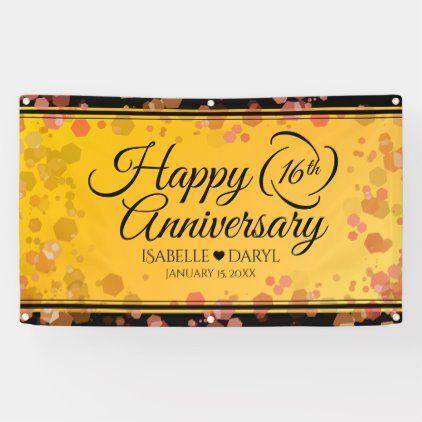 Elegant 16th Golden Topaz Wedding Anniversary Banner Zazzle Com In 2020 Anniversary Banner Wedding Anniversary Celebration Garnet Wedding
