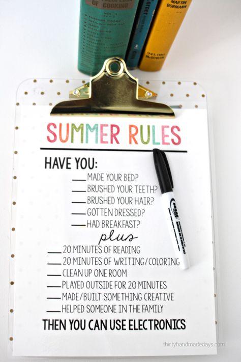 Printable Summer Rules