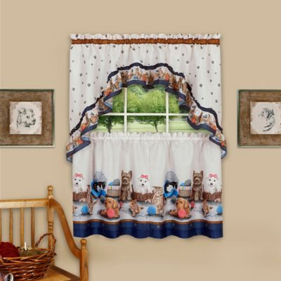 Achim Precious Rod Pocket Kitchen Window Tier And Swag Set In Navy Bed Bath Beyond Swag Curtains Curtain Sets Kitchen Curtains