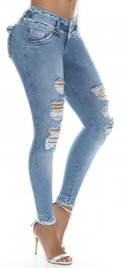 Jeans Levanta Cola Ene2 93522 Azul Jeans De Moda Pantalones De Moda Blusas Largas De Moda