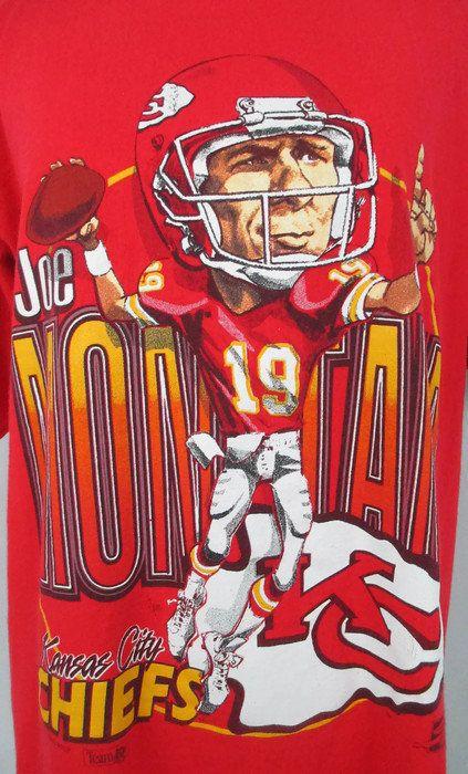 reputable site 059e5 53986 1990's Joe Montana T-Shirt Vintage 1993 Kansas City Chiefs ...