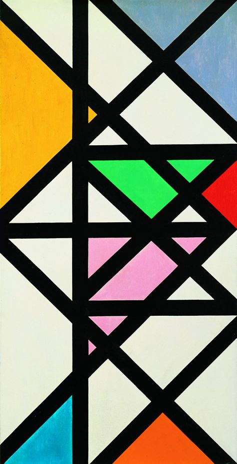 Max Bill studied at Bauhaus for two years as a pupil of Josef Albers --Horizontal Vertikal Diagonal Rhythmus / Oil on canvas / 1942