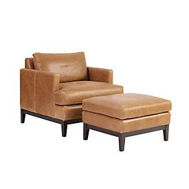 Hartwell Leather Chair Ottoman In 2020 Chair And Ottoman Leather Chair Ottoman