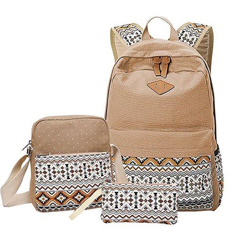 fc6191e09df MingTai Backpack Mochilas Escolares Mujer Mochila Escolar Lona Bolsa Casual  Para Chicas Bolsa De Hombro Mensajero Billetera Caqui
