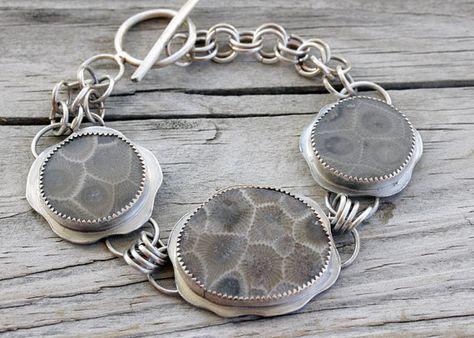 Fossil Jewelry Petoskey Ring Michigan Made Michigan Petoskey Stone Silver Ring