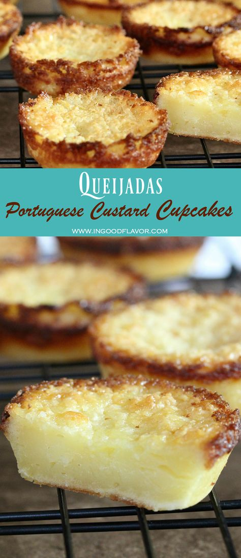 Portuguese Recipes 24618 Queijadas are custardy, sweet, and creamy Portuguese cupcakes with golden brown edges. If you like custardy desserts, you will love these! Cheesecake Desserts, Köstliche Desserts, Delicious Desserts, Dessert Recipes, Plated Desserts, Portuguese Desserts, Portuguese Recipes, Portuguese Sweet Bread, Easy Gluten Free Desserts