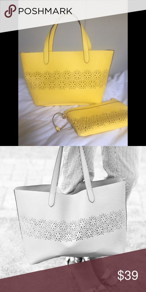 Chantilly Small Shopper   Clutch Laser cut design set . Includes matching  clutch with handbag .    Summer yellow color  5fc53b4a65745
