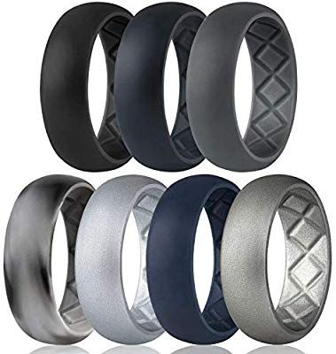 Breathable Mens Rubber Wedding Bands for Crossfit Workout Size 8 9 10 11 12 13 Egnaro Silicone Wedding Ring for Men