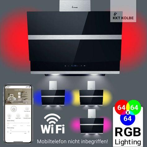 Dunstabzugshaube 60cm Wandhaube kopffrei Smart App sensor touch schwarz