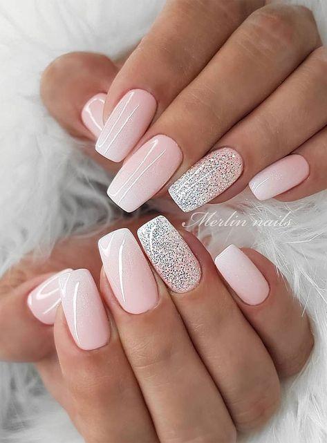 57 Gorgeous Wedding Nail Designs for Brides, bridal nails 2019,wedding nails bride,wedding nails with glitter, nails for wedding guest #weddingnails #nails #bridenails #glitternails #bridalnails