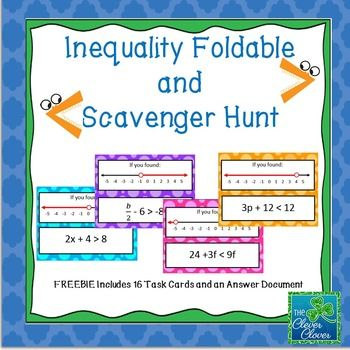 Solving and Graphing Inequalities - Foldable and Scavenger Hunt ...