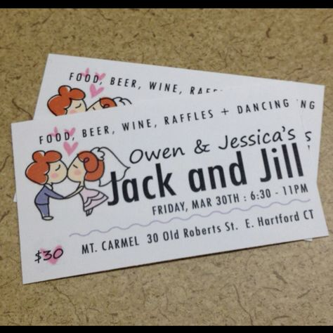 simple business card sized tickets for jack and jill party cheap and easy