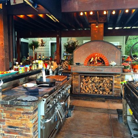 How 5 Celebrity Chefs Make The Most Of Their Home Kitchens This Is His Outdoor Kitchen On His Ranch P Backyard Kitchen Outdoor Kitchen Design Outdoor Kitchen
