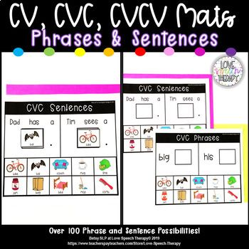 Apraxia Mats Phrase Sent Cv Cvc Cvcv Speech Therapy Activities Preschool Phrases And Sentences Receptive Language Activities
