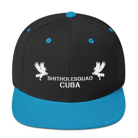 Shitholesquad Cuba (WL) Snapback Hat - Black/ Teal