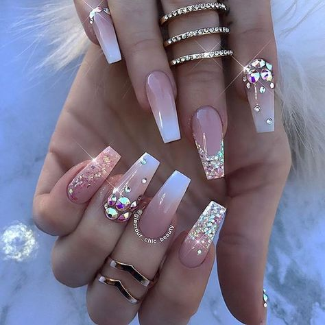Awesome 39 Stylish Acrylic Coffin Nail Arts Design For Summer. More at http://tilependant.com/2018/10/03/39-stylish-acrylic-coffin-nail-arts-design-for-summer/