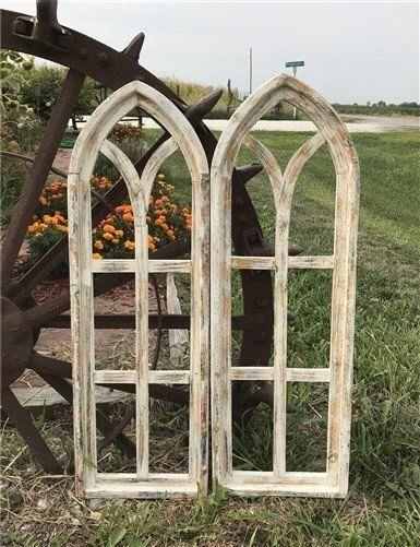 Pair Arched Farmhouse Window Frames Wood Window Frames Gothic Window Wall Decor Cathedral Window Wood Window Frame Window Wall Decor Farmhouse Windows