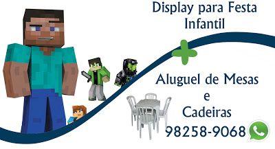 Kit Display Festa Infantil Minecraft Aluguel De Mesas E Cadeiras