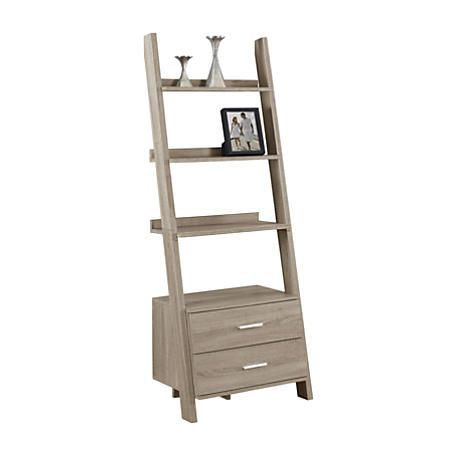 f31d32c9e2 Monarch Specialties 4-Shelf Ladder Bookcase With 2 Drawers, Dark ...