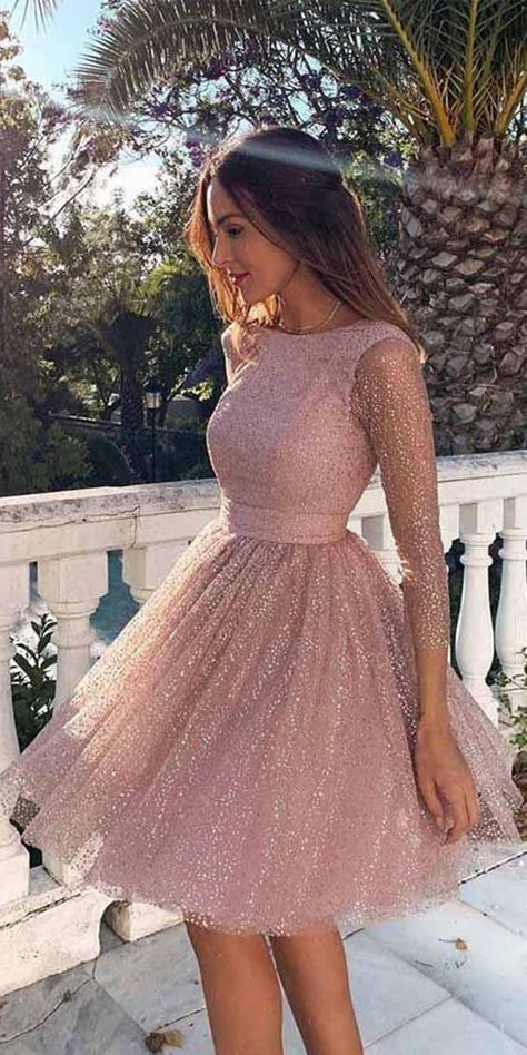 Sparkly Rose Gold Tulle Homecoming Dresses with Long Sleeves SD1246