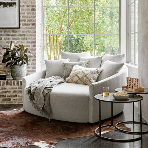 Cozy Nook, Cozy Corner, Small Sitting Rooms, Round Chair, Living Room Chairs, Living Room Seating, Seating Room Ideas, Living Room With Sectional, Grey Living Room Furniture