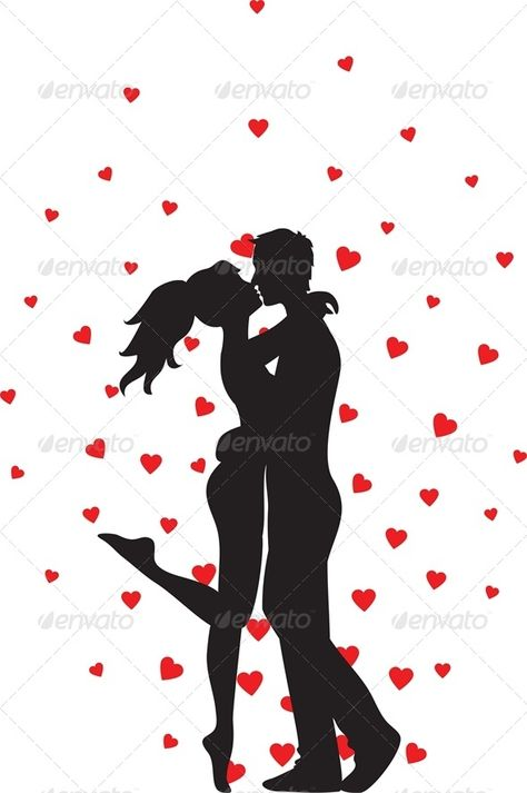 Silhouette of kissing couple and hearts. Vector illustration, fully editable, vector objects separated and grouped. Editable EPS 8