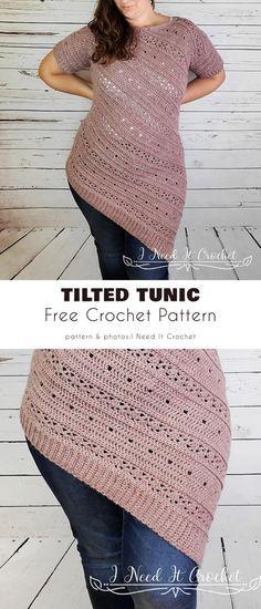 Crochet Tunic Pattern, Crochet Jumper, Chunky Crochet, Free Crochet Dress Patterns, Tunic Dress Patterns, Crochet Sweaters, Crochet Tops, Crochet Shawls And Wraps, Crochet Woman