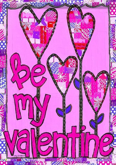 Valentine Collage Garden Flag 2 Sided Heart Flowers In 2020