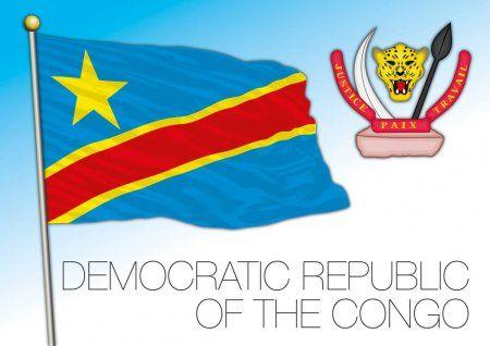 Congo Repubblica Democratica Bandiera Nazionale Ufficiale E Stemma Illustrazione Vettoriale Paese Africano In 2020 National Flag Vector Illustration Flag
